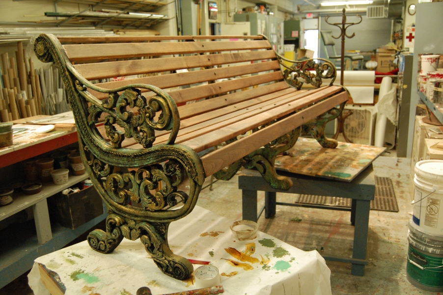 painted cast iron bench