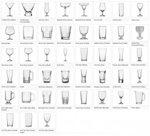 Common drinkware used in bartending