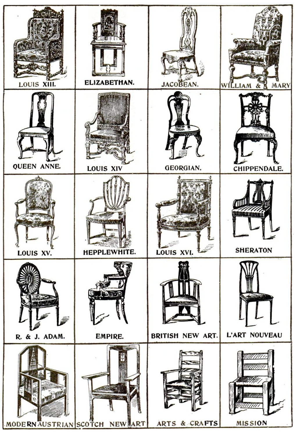Chaise Style Art Nouveau 40 styles of chairs | prop agenda