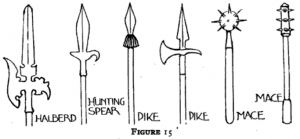 Figure 15: Typical spear, pikes, maces, and halberd