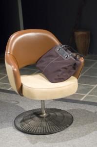 Swivel chair on pedestal
