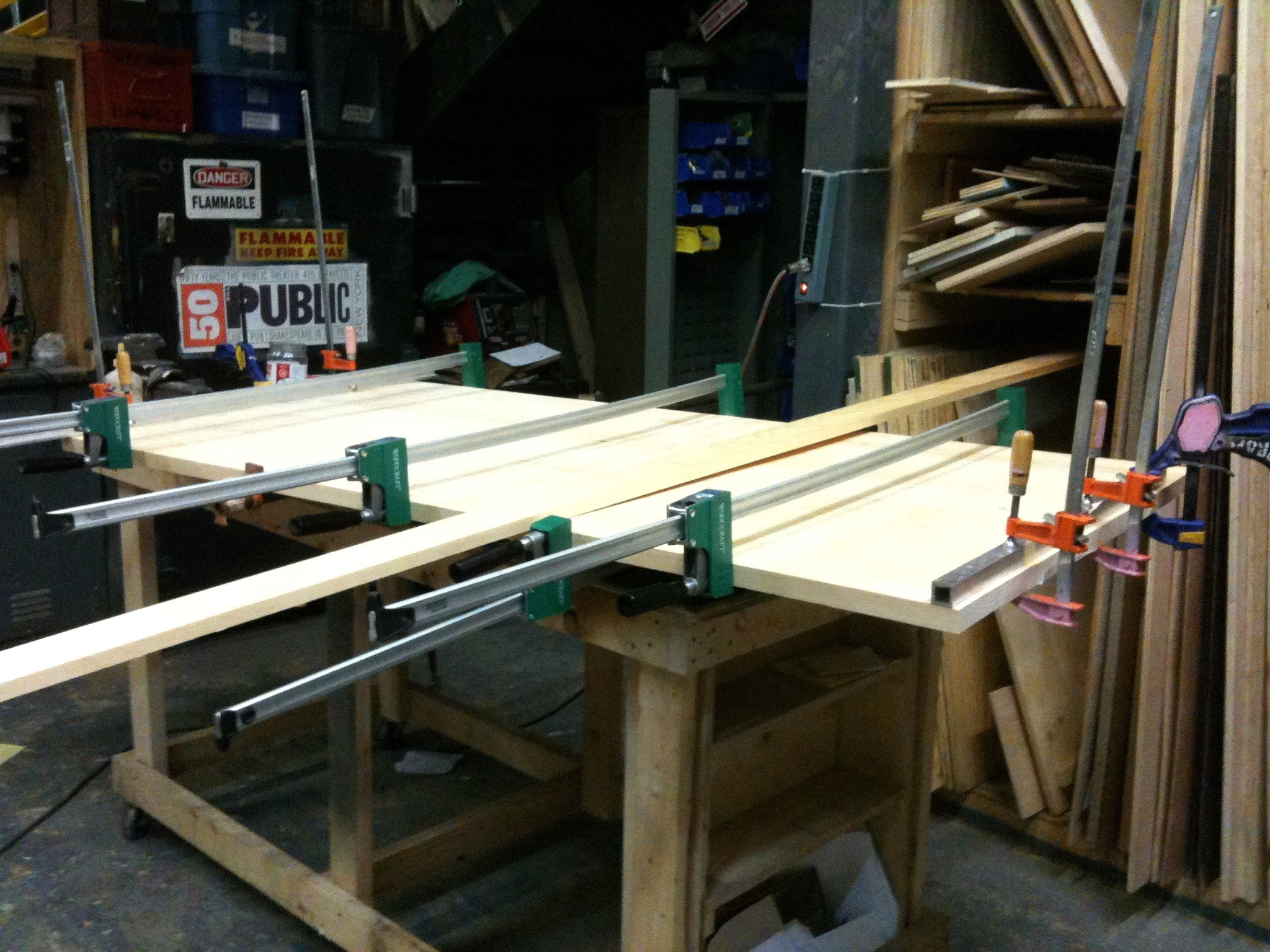 The boards for the table top are clamped together