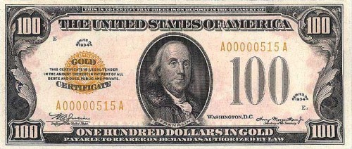One hundred dollar gold note