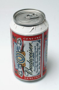 A can covered in a paper label