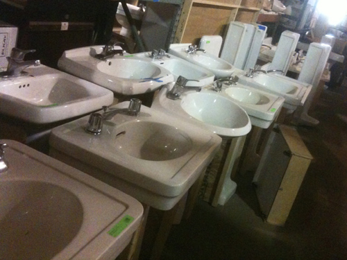 Porcelain sinks in a row