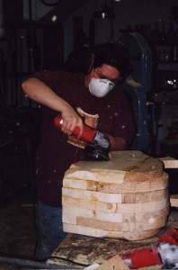 Layup of solid wood pieces