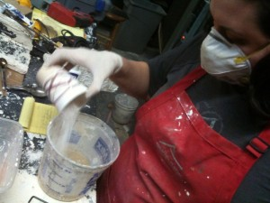 Combining the plaster into the water