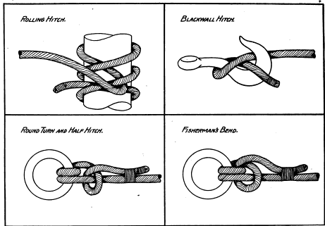 Rolling hitch, blackwall hitch, round turn and half hitch, fisherman's bend