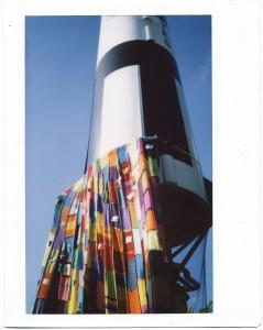 Knitfitti on a real Space Age rocket.