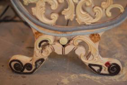Closeup of cast iron bench