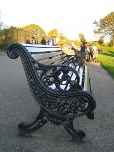 A cast iron park bench