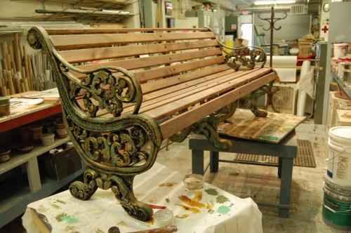 A faux cast iron prop bench