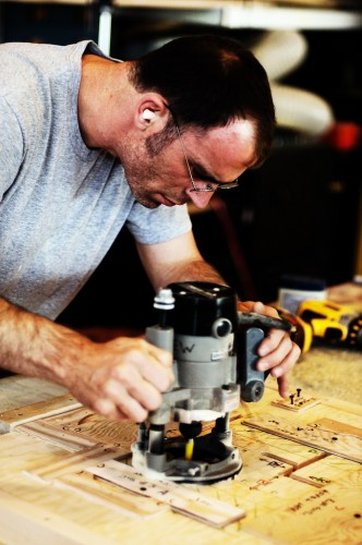 Dave making a routing jig