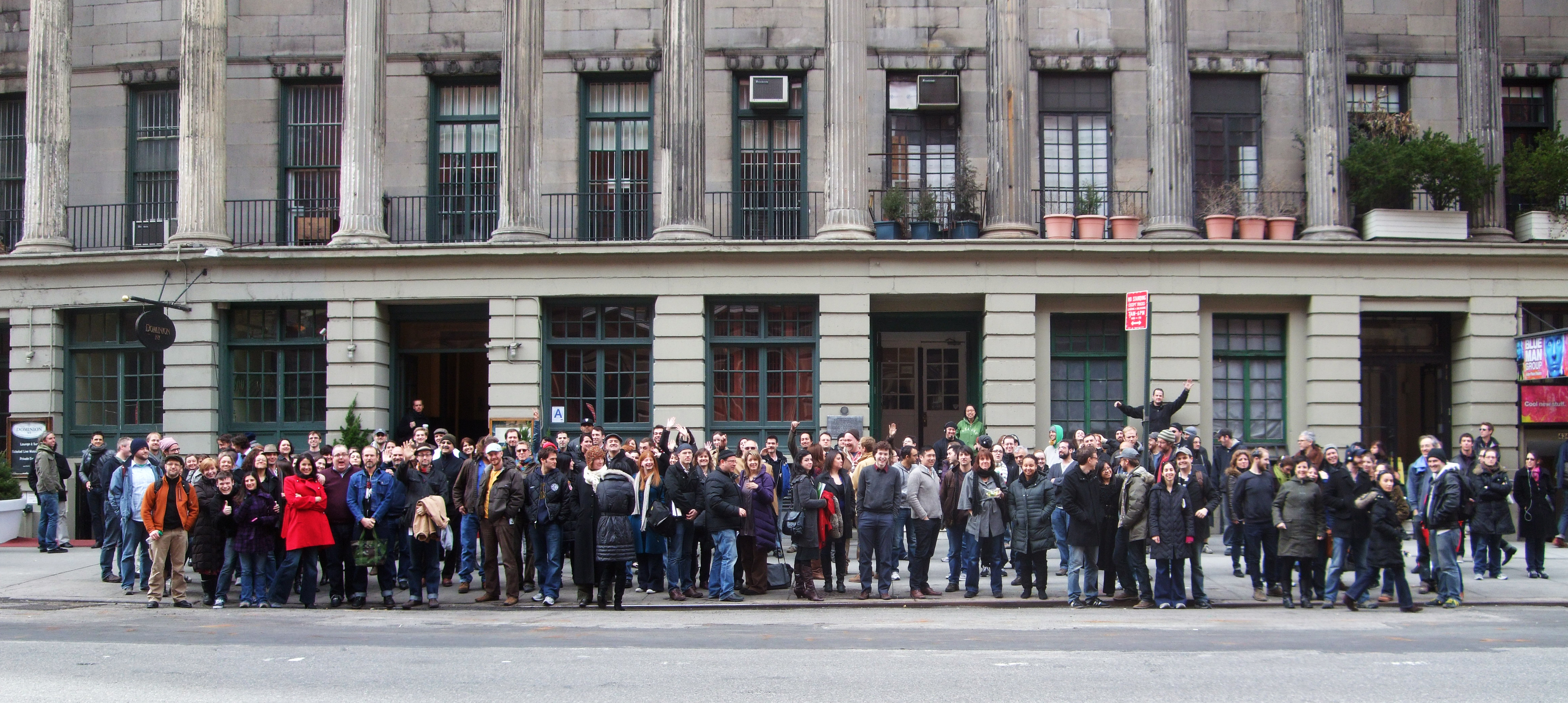 Employees of the Public Theater during a fire drill on March 25, 2011. Photograph by Jay Duckworth