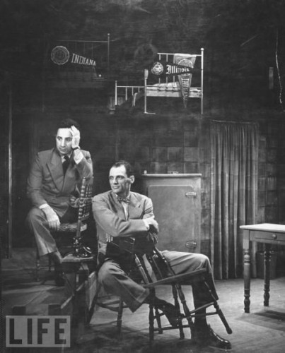 """(L-R) Director Elia Kazan and playwright Arthur Miller on the Broadway set of """"Death of a Salesman"""""""