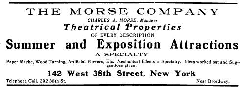 Morse Company Theatrical Properties, 1903