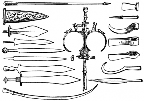 A collection of typical weapons used in Ancient Rome