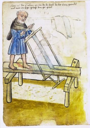 Ripping a long board, circa 1443