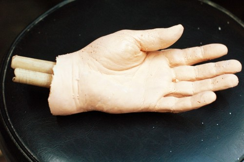 Unpainted silicone rubber hand