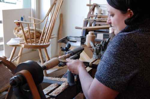 Natalie on a human-powered lathe
