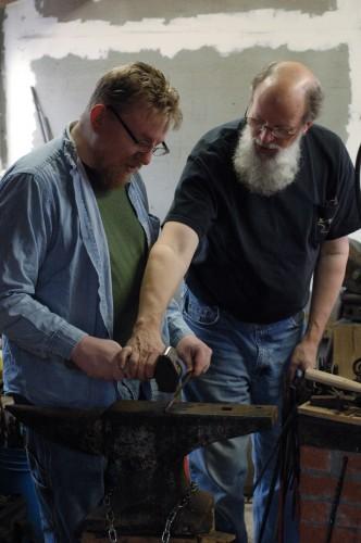 Dick teaches Ben proper hammer technique