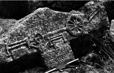 Hierapolis. Relief of an ancient double stone saw on the sarcophagus of M. Aur. Ammianos (2nd half of 3rd century AD).
