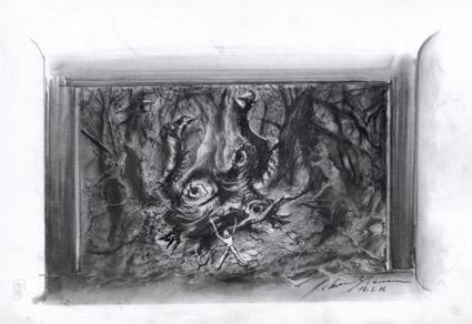 Günther Schneider-Siemssen's sketches for Fafner's entrance