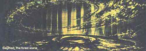 Original sketch for the forest where Fafner appears.
