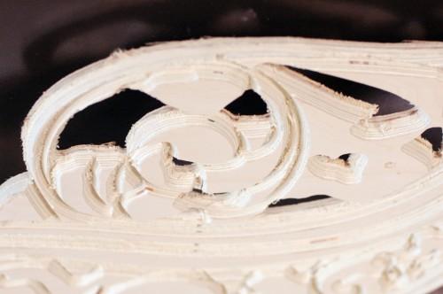 Closeup of CNC V-carving