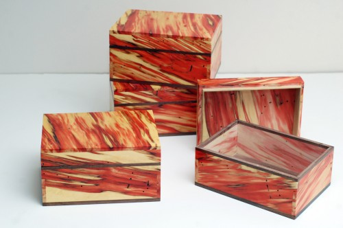 Four boxes made from box elder.