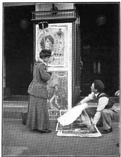 Miss Tessie Haynes, sister of the manageress, acting as a bill-poster
