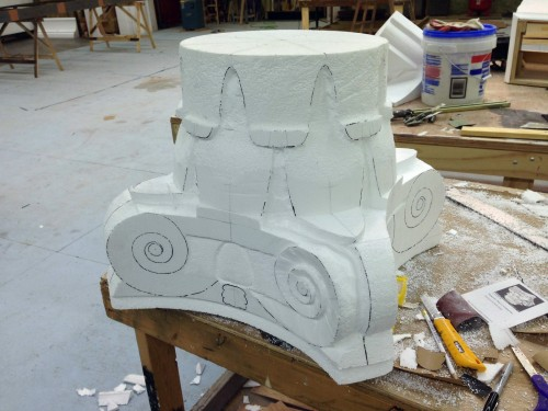 Beginning the carving