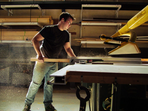 Stephen Dobay using the table saw.