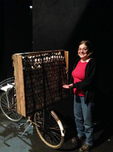 """Cynthia proudly presents the """"Egg Cart"""" used in A.R.T's production of """"Witness Uganda"""""""