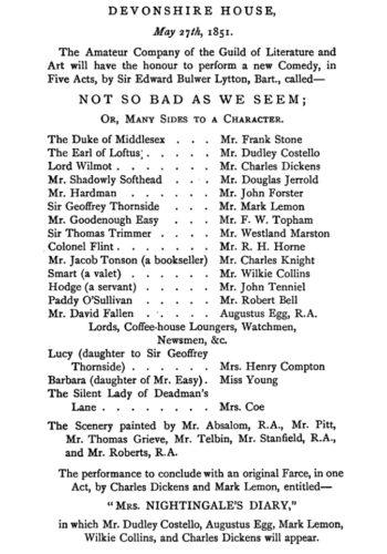 Charles Dickens Playbill