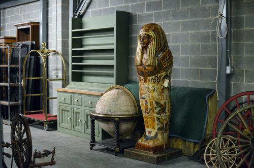 Globe and sarcophagus