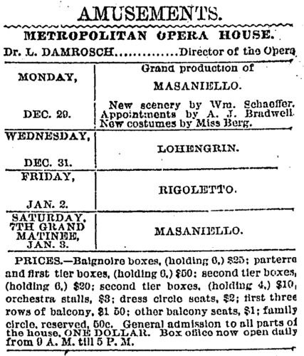 1884 Ad for Metropolitan Opera