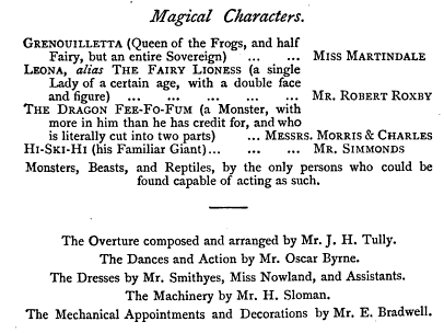 1851 Playbill for Queen of the Frogs