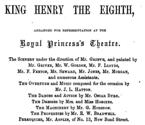 1855 Playbill for Kean's Henry VIII