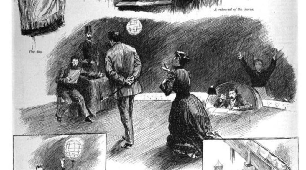 Illustrations of the backstage of the Metropolitan Opera in 1891