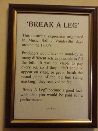 "Plaque with false information about the origin of the phrase ""Break a Leg"""